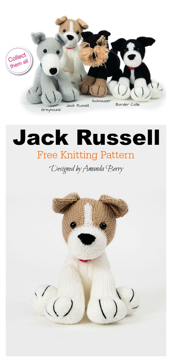 Jack Russell Dog Amigurumi Free Knitting Pattern