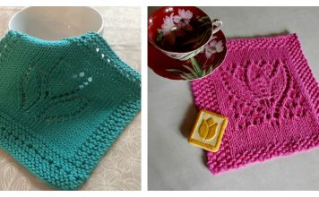Margaret Tulip Dishcloth Block Free Knitting Pattern
