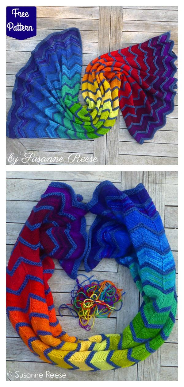 Rainbow Blanket Free Knitting Pattern