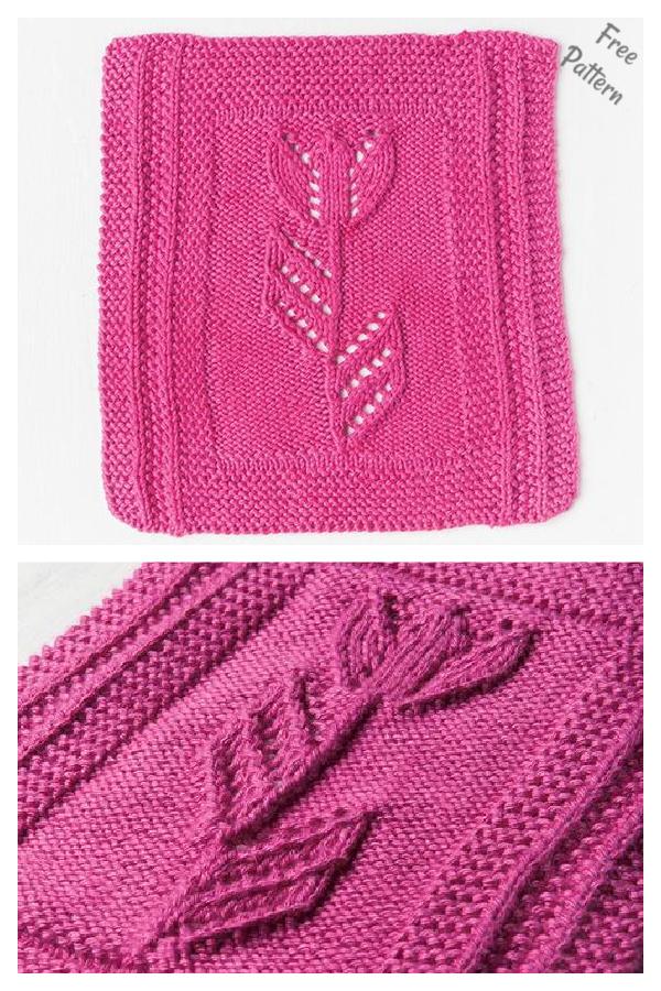 Spring Tulip Dishcloth Free Knitting 1Pattern