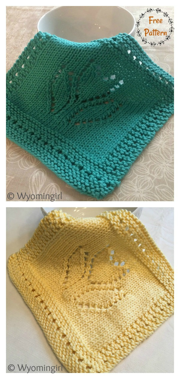 Spring Tulip Dishcloth and Blanket Block Free Knitting Pattern