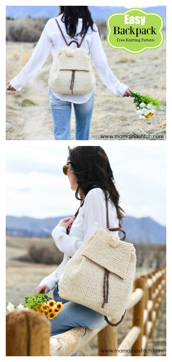 Straw-Like Easy Backpack Free Knitting Pattern