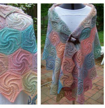Swirl Hexagons Shawl Knitting Pattern and Video Tutorial