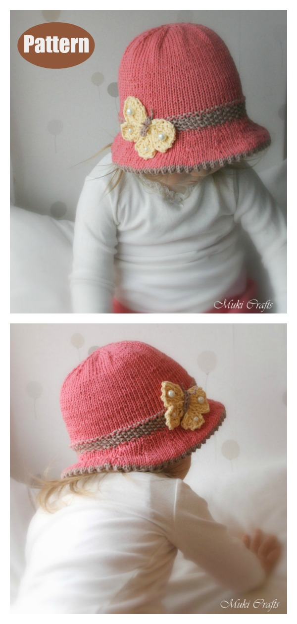 Bucket Style Baby Hat with Butterfly Knitting Pattern