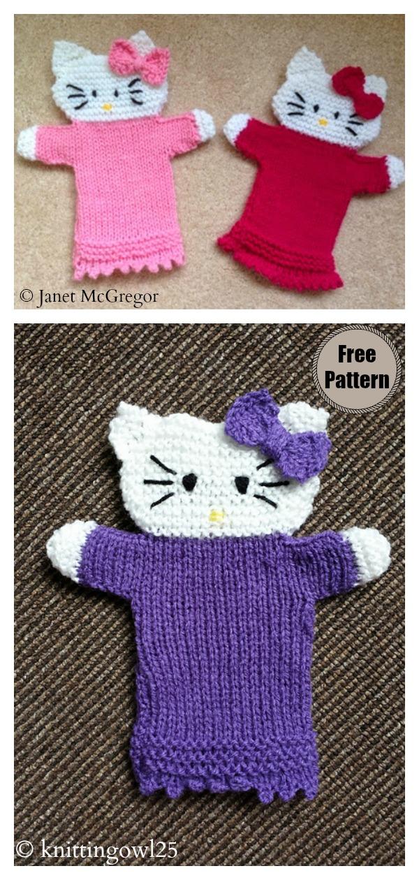 Hello Kitty Hand Puppet Free Knitting Pattern