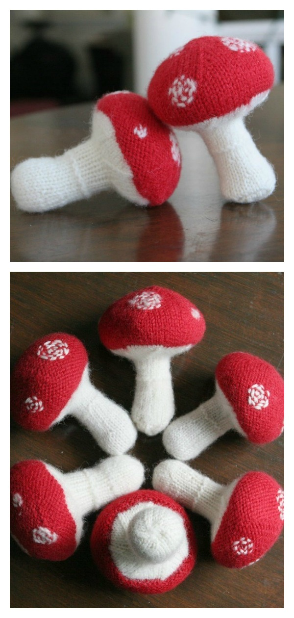 Knitted Mushroom Baby Rattle Soft Toy