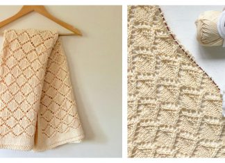 Lacy Diamonds Baby Blanket Free Knitting Pattern and Video Tutorial