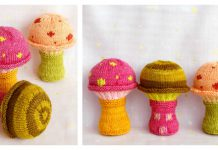 Mushroom Baby Rattle Soft Toy Free Knitting Pattern