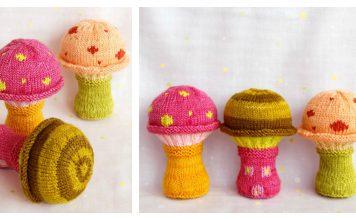 Mushroom Baby Rattle Soft Toy Free Knitting Pattern