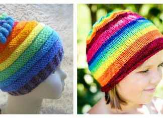 Rainbow Hat Free Knitting Pattern