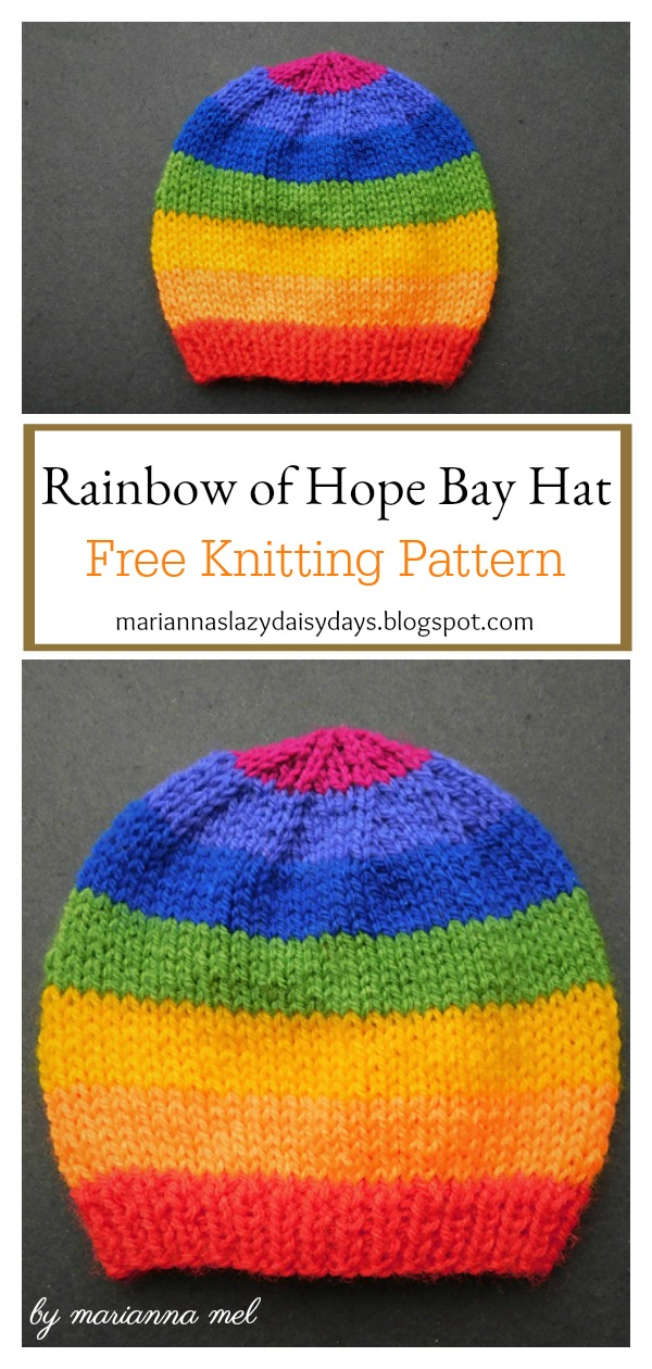 Rainbow of Hope Bay Hat Free Knitting Pattern