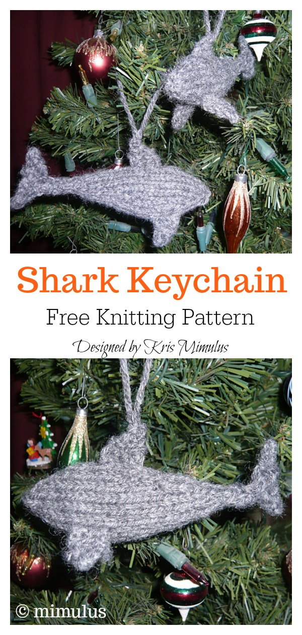 Shark Keychain Ornament Free Knitting Pattern