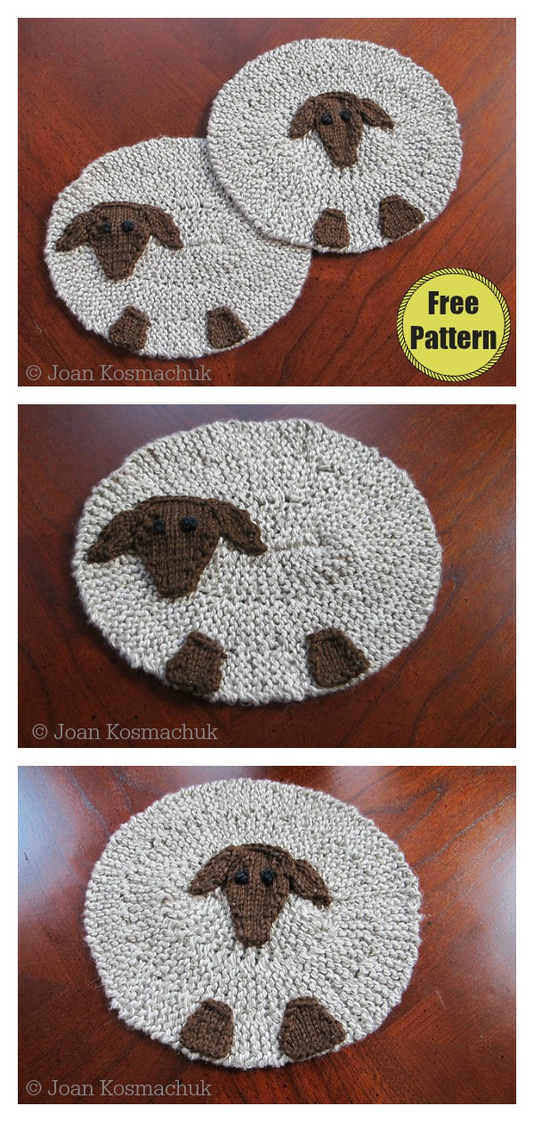 Sheep Coaster Free Knitting Pattern