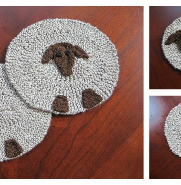 Sheep Coaster Free Knitting Pattern