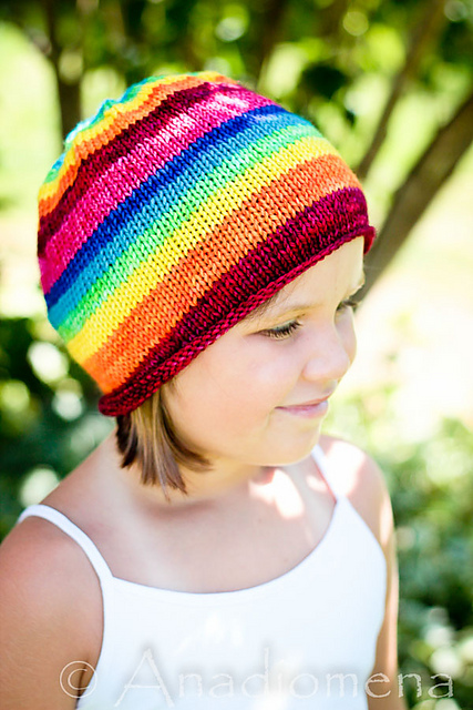 Simple Beanie aka Lollipop Rainbow Hat Free Knitting Pattern