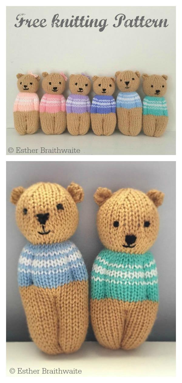 Teddy Bear Dolls Free Knitting Pattern