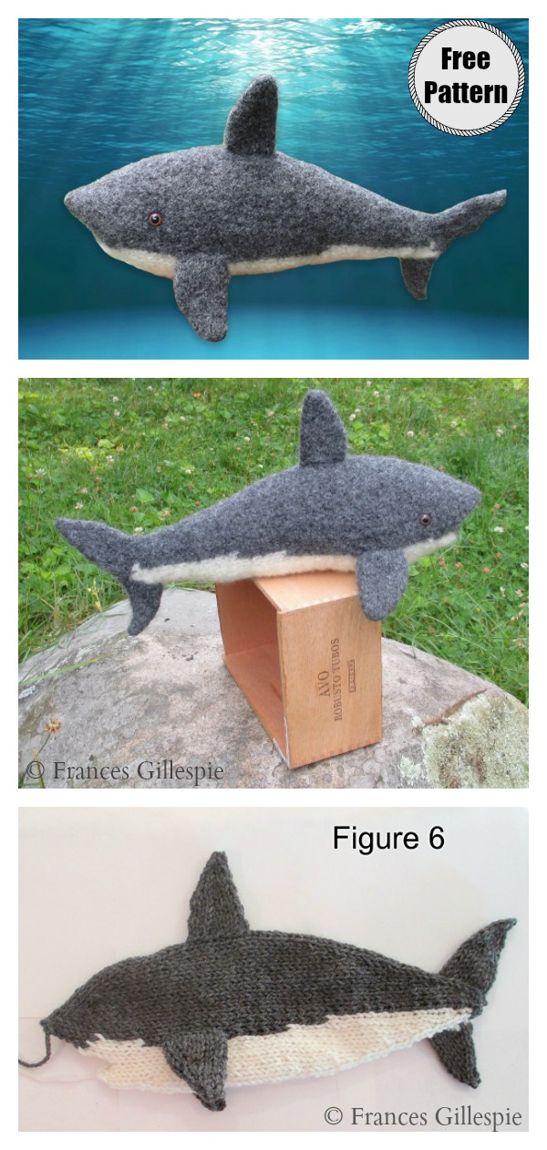 White Shark Soft Toy Free Knitting Pattern