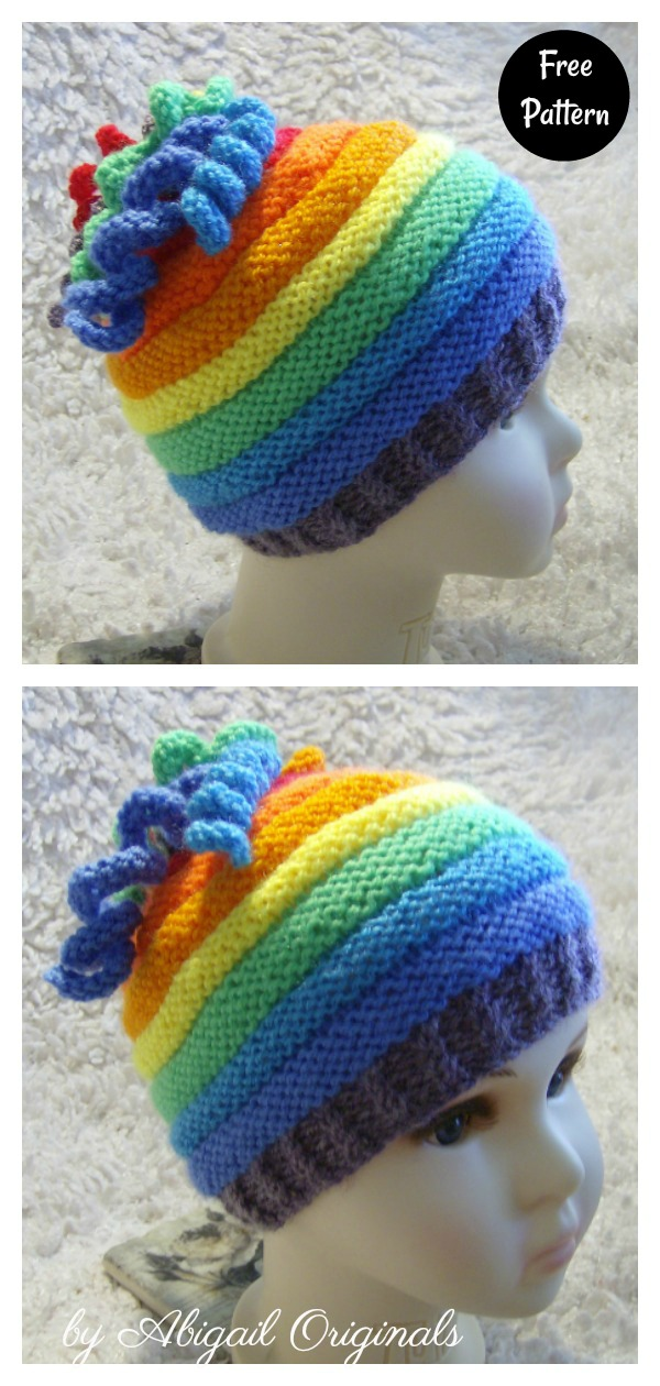 Whirlygig Rainbow Hat Free Knitting Pattern