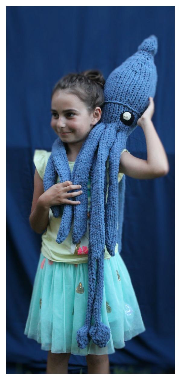 Giant Squid Plush Toy Knitting Pattern