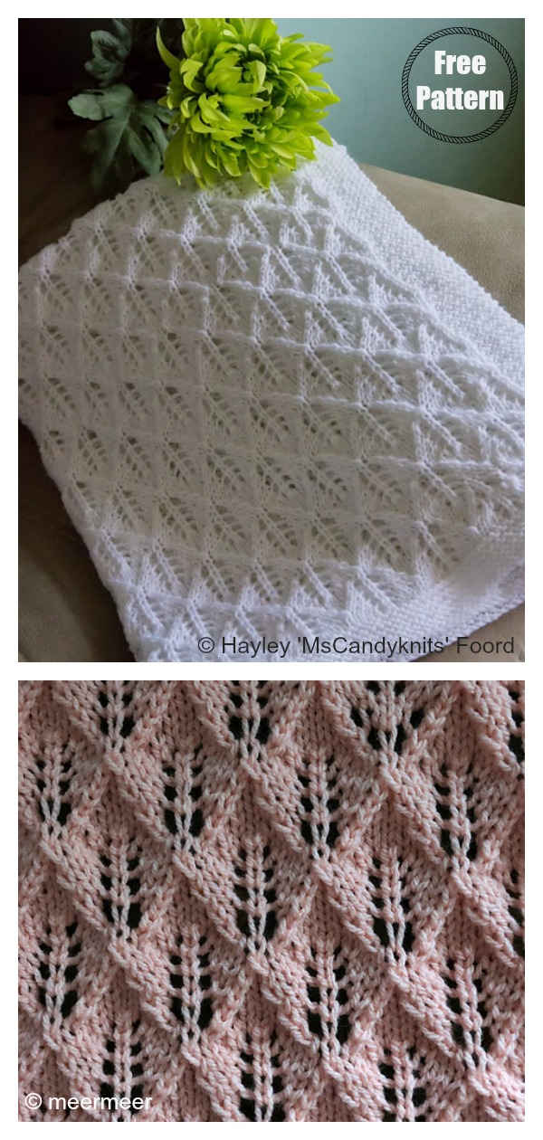 Diamond Lace Baby Blanket Free Knitting Pattern
