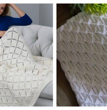 Diamond Lace Blanket Free Knitting Pattern