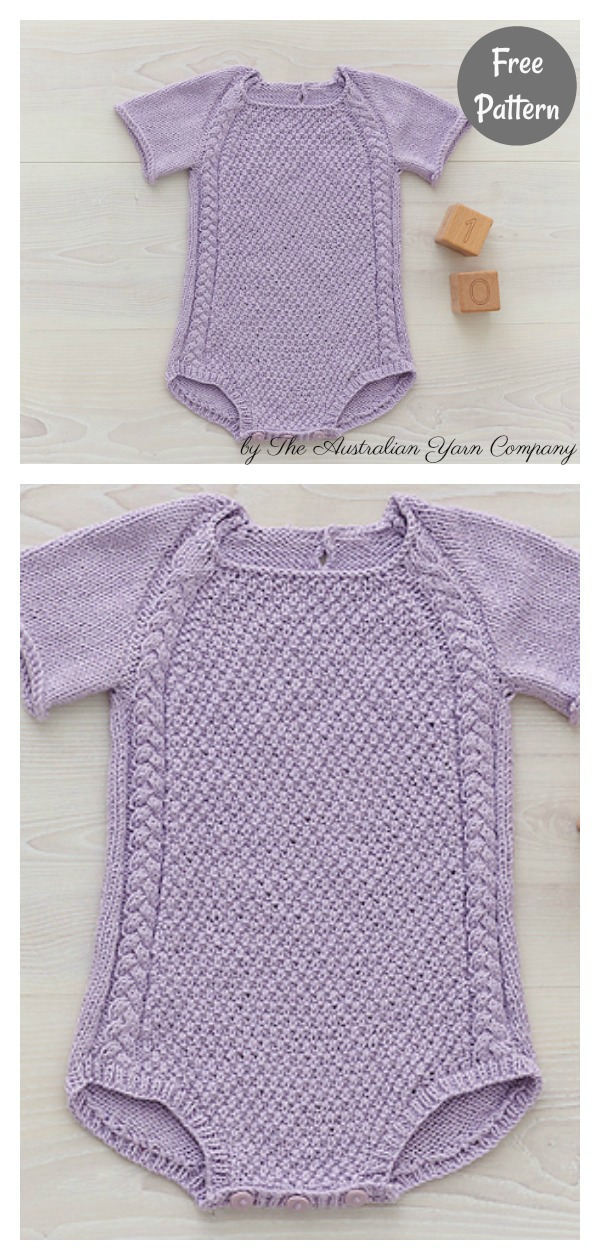 Cable Detail Baby Romper Free Knitting Pattern