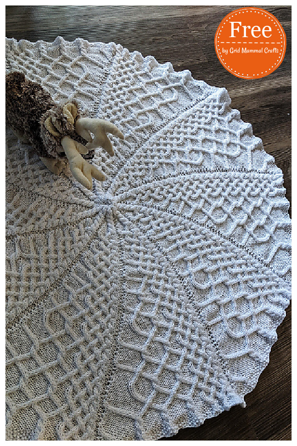 Cable and Swirl Round Baby Blanket Free knitting Pattern