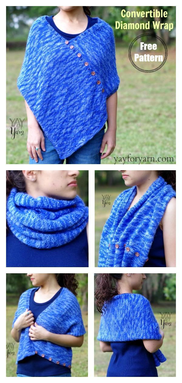 Convertible Diamond Wrap FREE Knitting Pattern