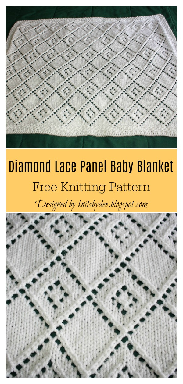Diamond Lace Panel Baby Blanket Free Knitting Pattern