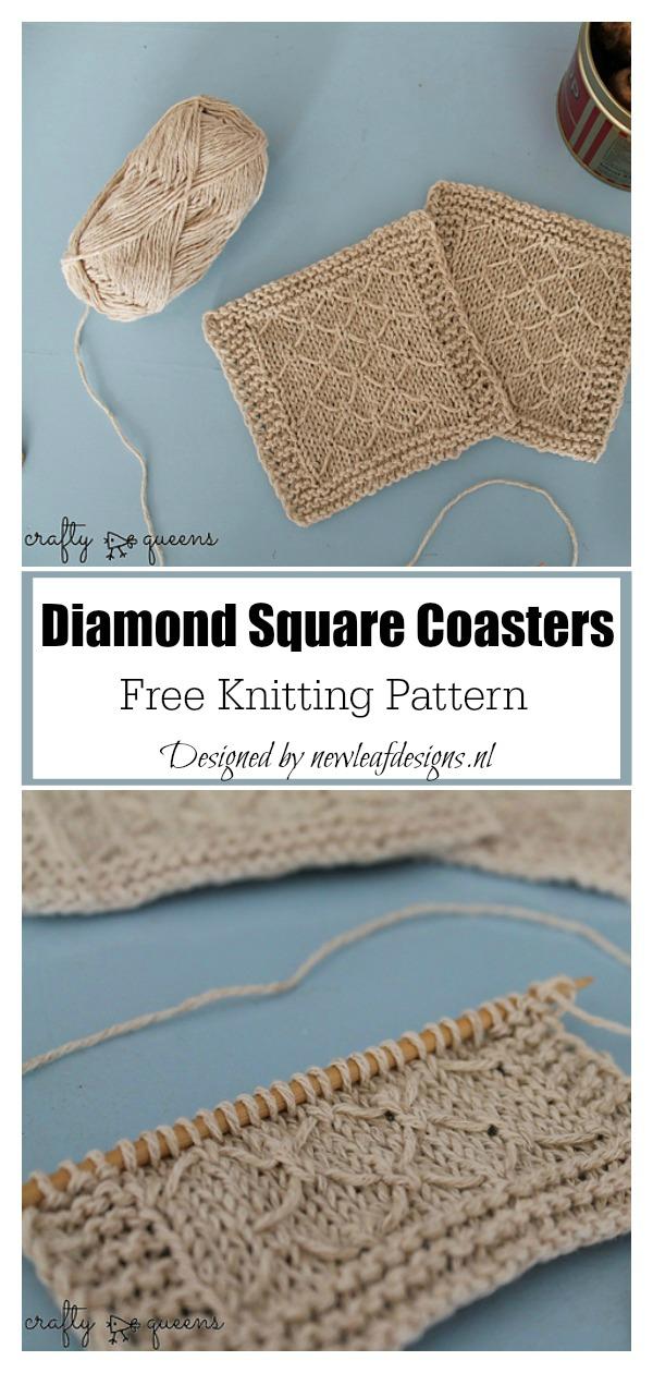Diamond Square Coasters Free Knitting Pattern