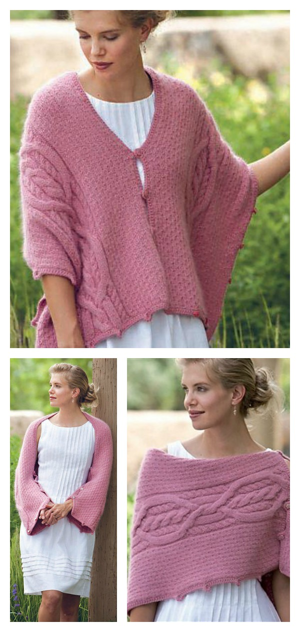 Five-Way Convertible Cable Shrug Free Knitting Pattern
