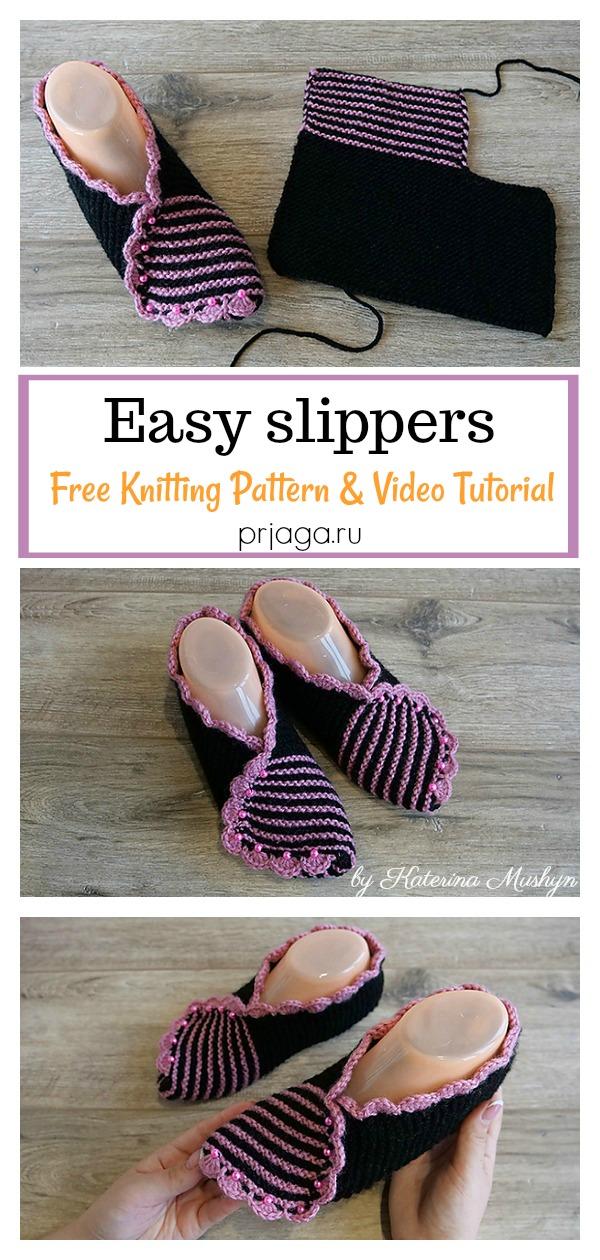 Flat Knit Easy Slippers Free Knitting Pattern and Video Tutorial