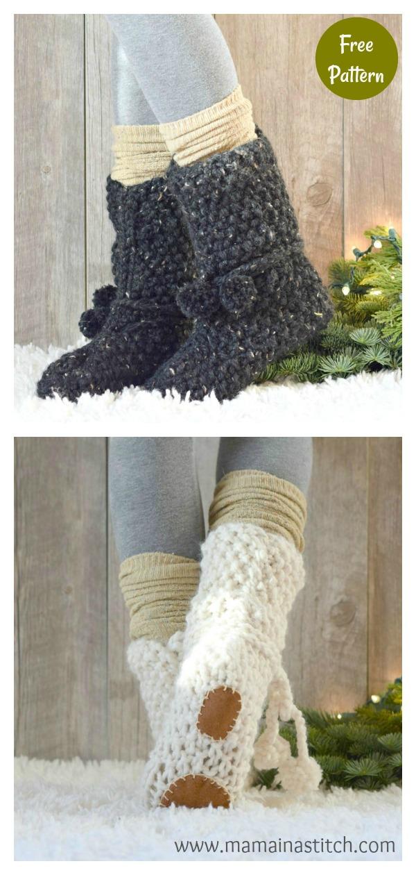 Flat Knit Mountain Chalet Boot Slipper Free Knitting Pattern