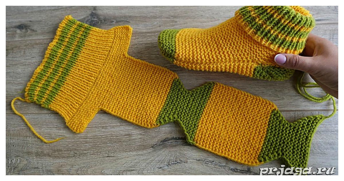 Flat Knit Slippers Free Knitting Pattern and Video Tutorial