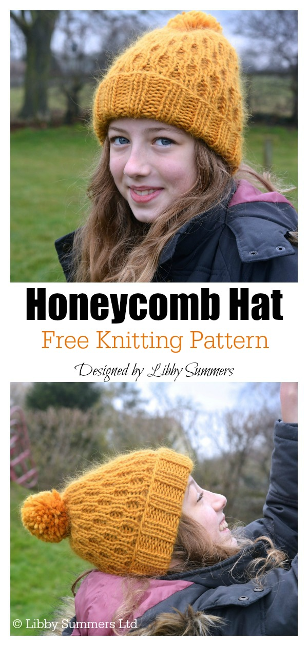 Honeycomb Beanie Hat Free Knitting Pattern