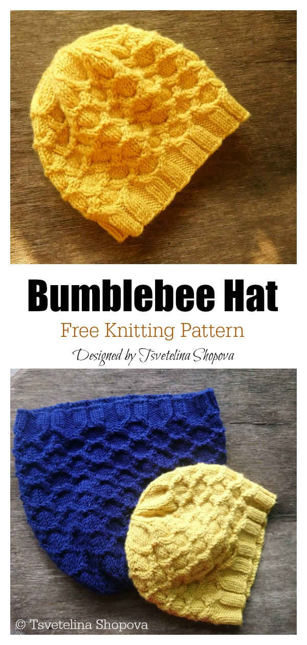 Honeycomb Bumblebee Hat Free Knitting Pattern
