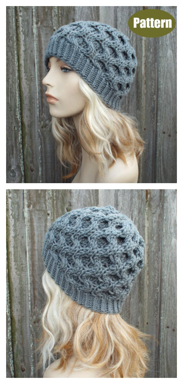 Honeycomb Cable Beanie Hat Knitting Pattern