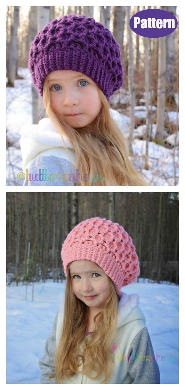 Honeycomb Ridges Slouch Hat Knitting Pattern