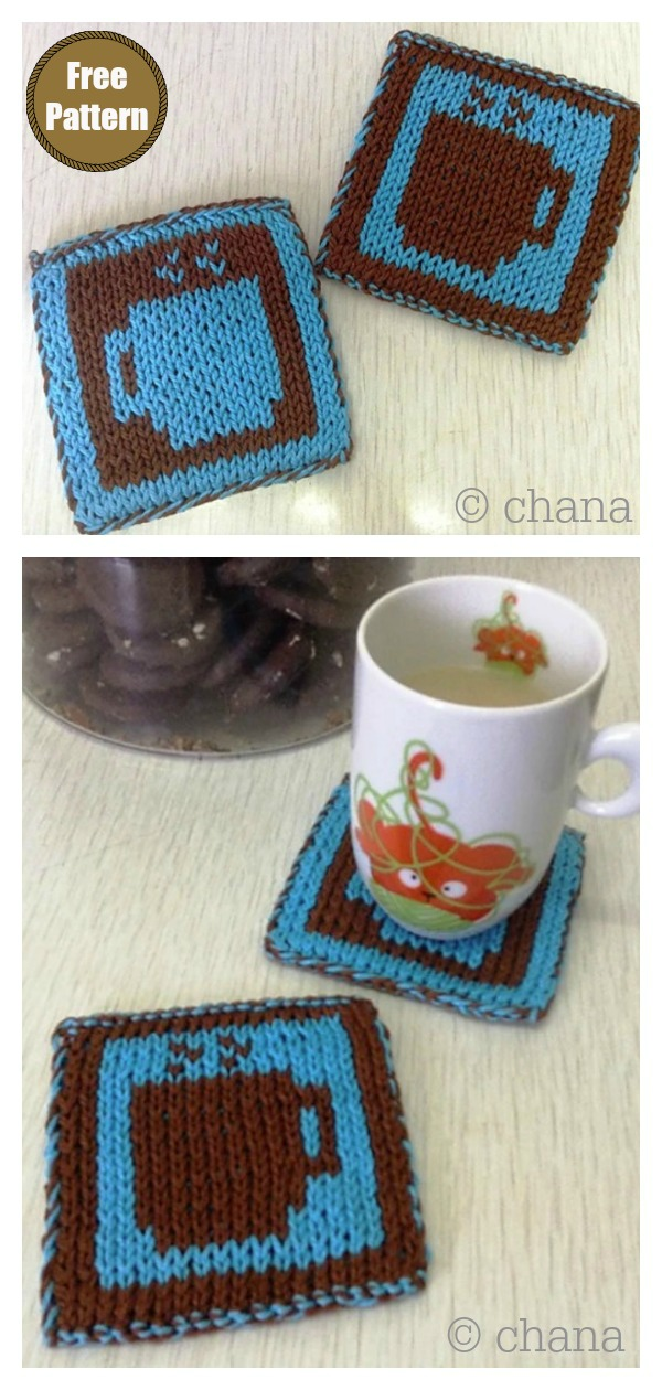 Hot Cuppa Square Coasters Free Knitting Pattern