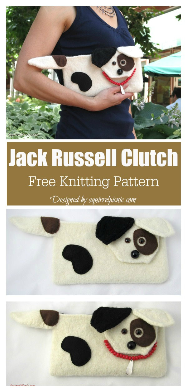 Jack Russell Dog Clutch Free Knitting Pattern