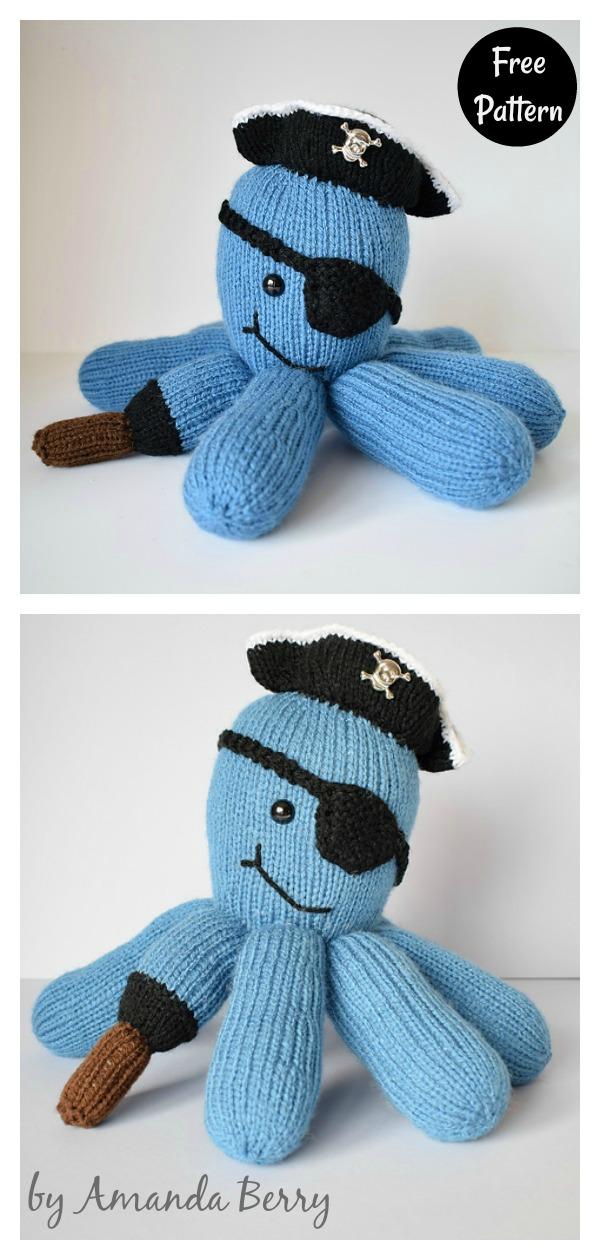 Pirate Captain Octopus Free Knitting Pattern