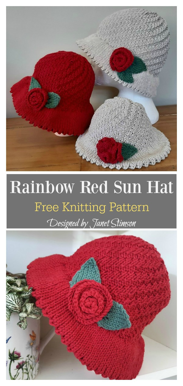 Rainbow Red Sun Hat Free Knitting Pattern