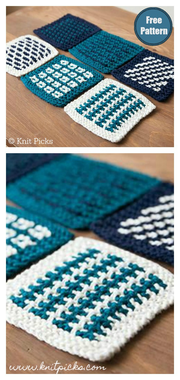 Slip Stitch Square Coasters Free Knitting Pattern