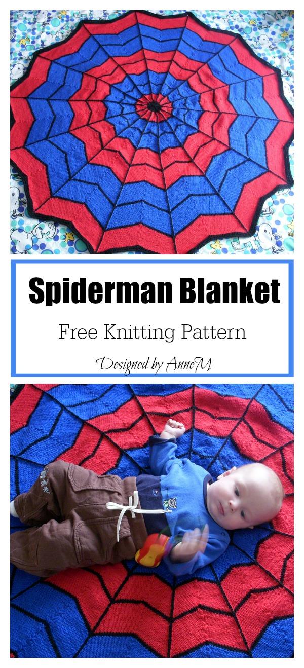 Spiderman Round Blanket Free knitting Pattern