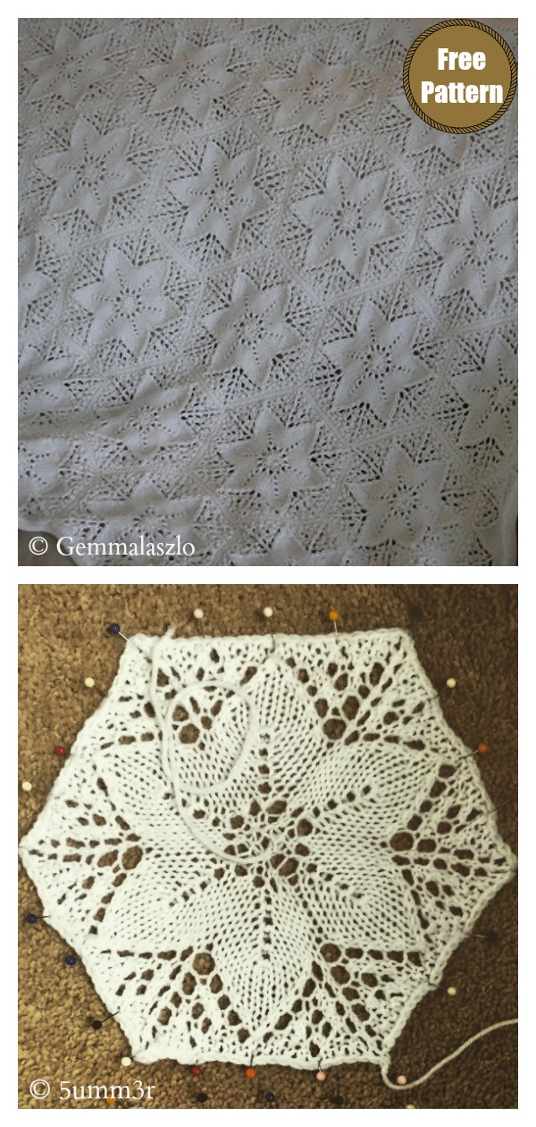 Star Shaped Flowers Lace Blanket Free Knitting Pattern