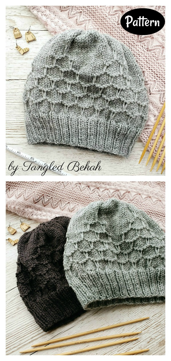 Tangential Honeycomb Hat Knitting Pattern