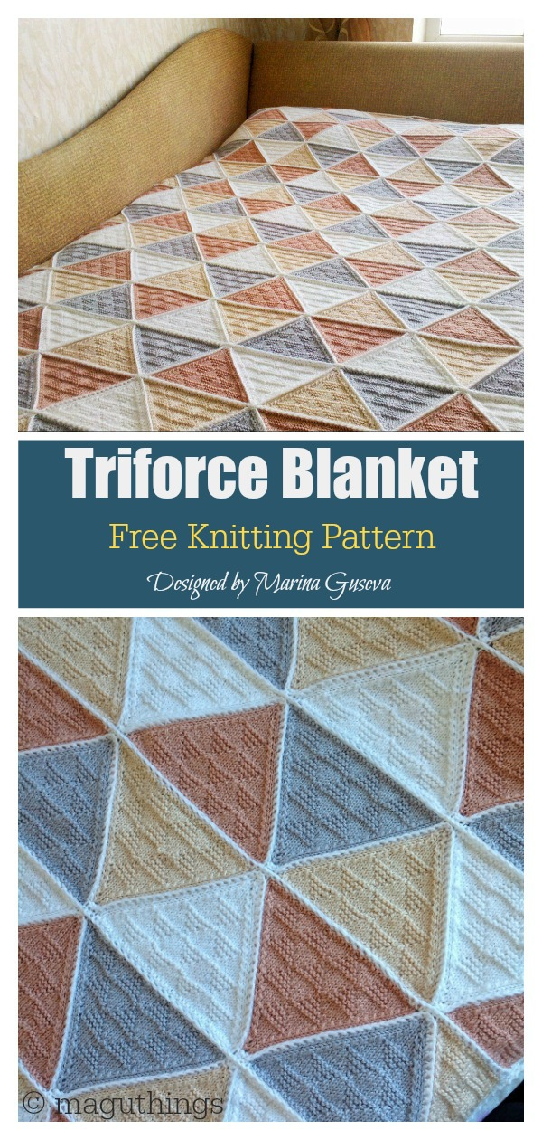 Triforce Blanket Free Knitting Pattern