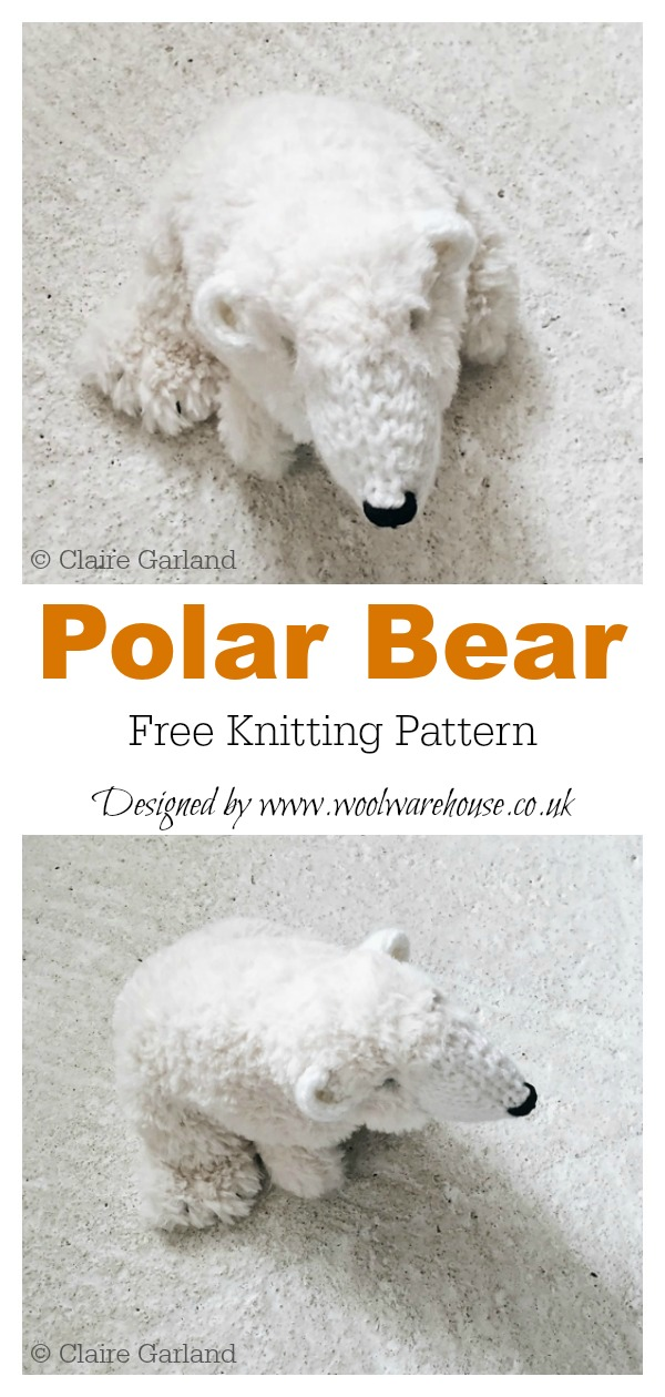 Amigurumi Polar Bear Toy Free Knitting Pattern