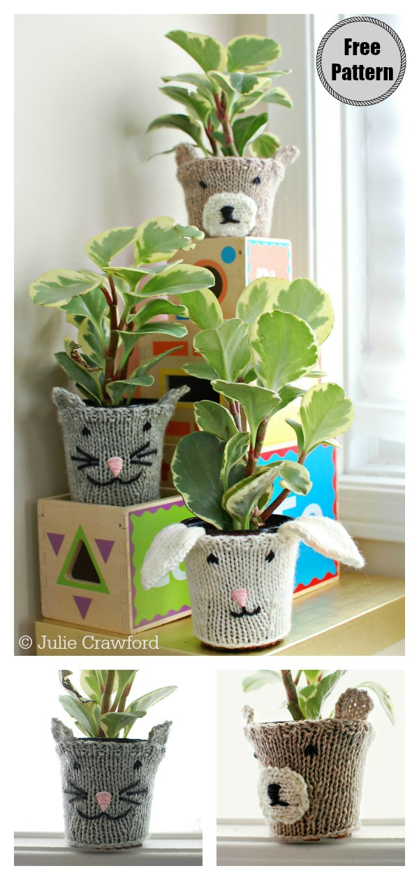 Animal Flower Pot Cozy Free Knitting Pattern