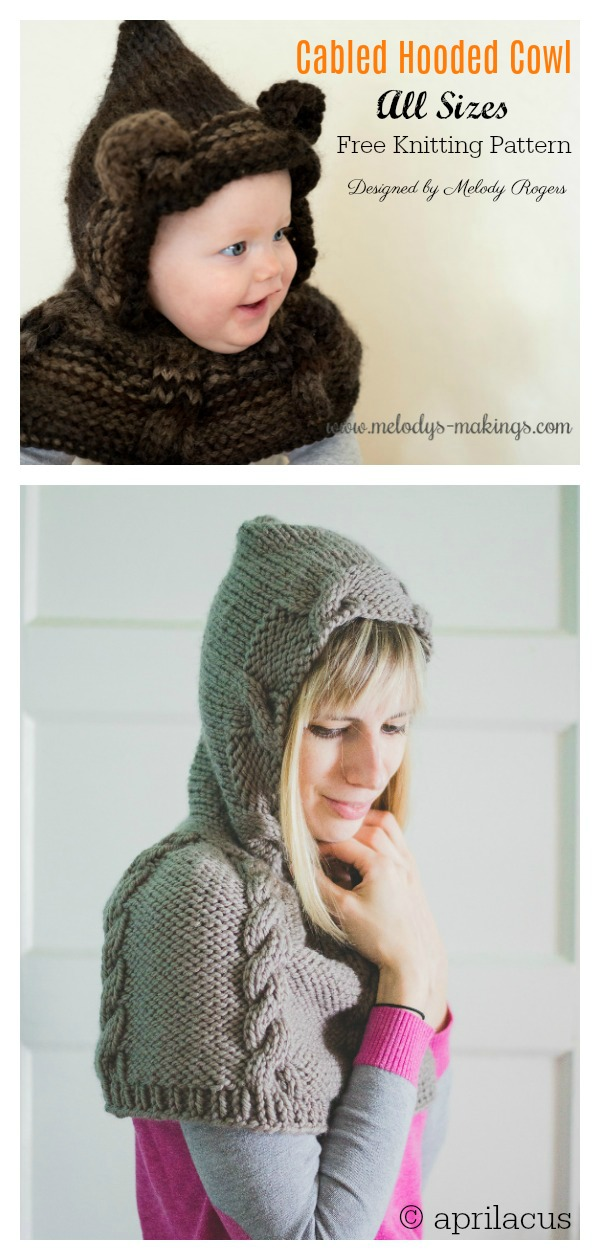 Cabled Hooded Cowl Free Knitting Pattern